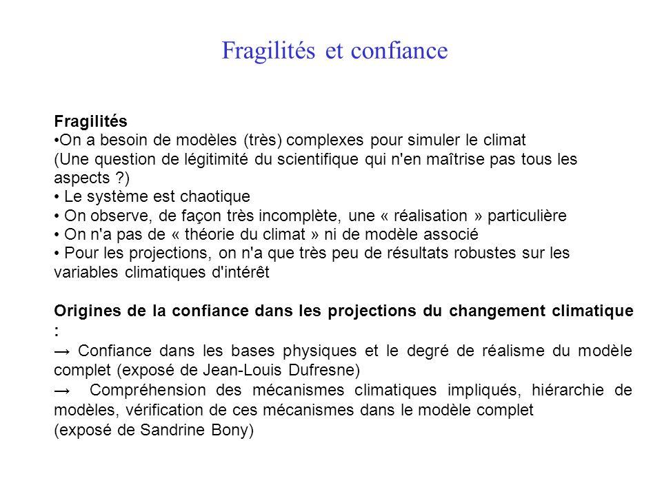Fragilités et confiance Fragilités On a besoin de modèles (très) complexes pour simuler le climat (Une question de légitimité du scientifique qui n'en