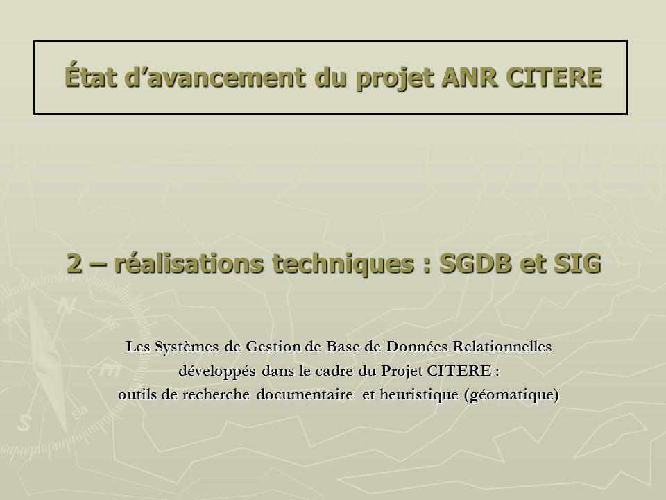 État davancement du projet ANR CITERE 2 – réalisations techniques : SGDB et SIG Les Systèmes de Gestion de Base de Données Relationnelles développés d