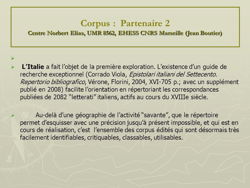 LItalie a fait lobjet de la première exploration. Lexistence dun guide de recherche exceptionnel (Corrado Viola, Epistolari italiani del Settecento. R