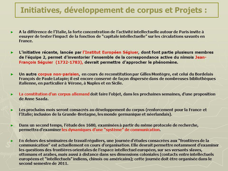 Initiatives, développement de corpus et Projets : A la différence de lItalie, la forte concentration de lactivité intellectuelle autour de Paris invit