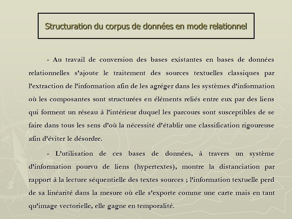 Structuration du corpus de données en mode relationnel - Au travail de conversion des bases existantes en bases de données relationnelles sajoute le t