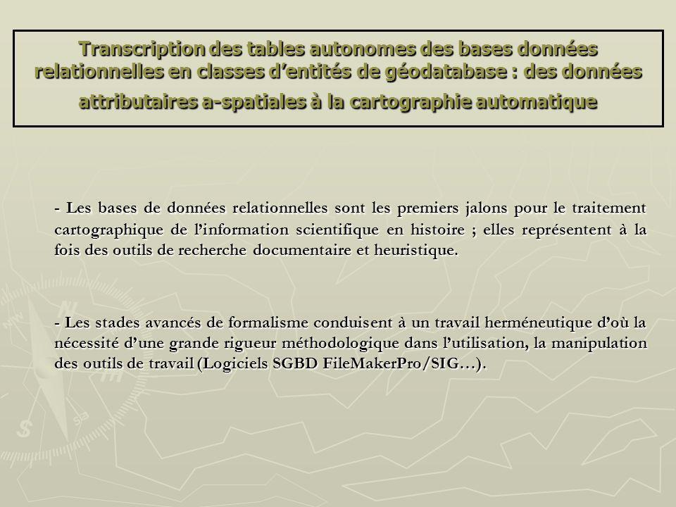 Transcription des tables autonomes des bases données relationnelles en classes dentités de géodatabase : des données attributaires a-spatiales à la ca
