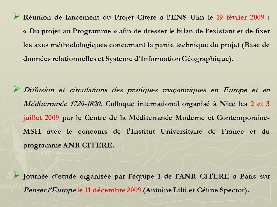 Réunion de lancement du Projet Citere à lENS Ulm le 19 février 2009 : « Du projet au Programme » afin de dresser le bilan de lexistant et de fixer les