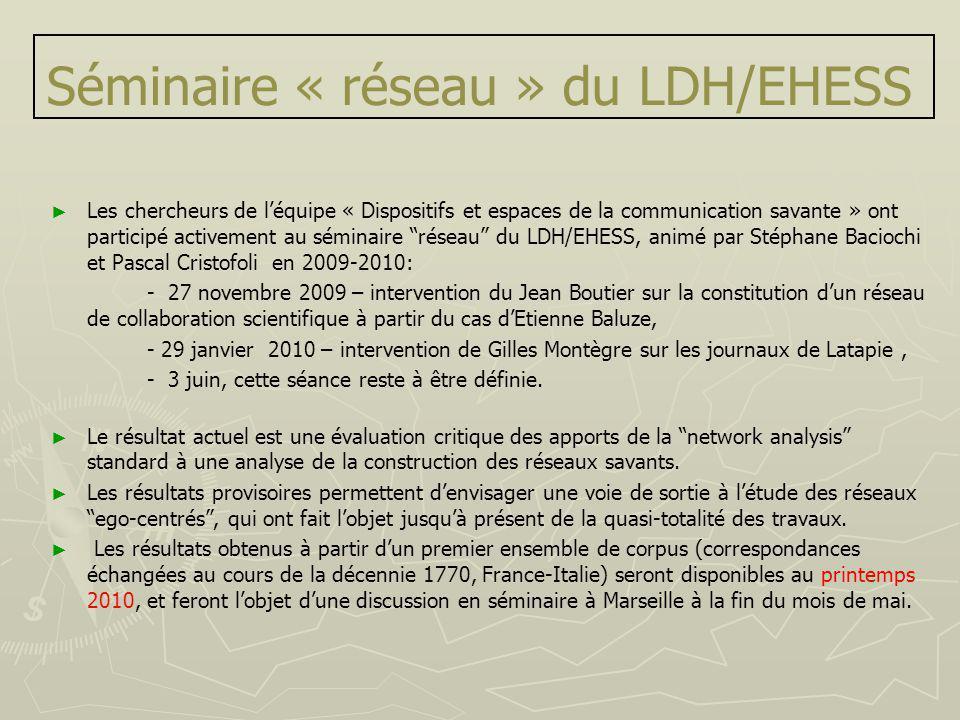 Séminaire « réseau » du LDH/EHESS Les chercheurs de léquipe « Dispositifs et espaces de la communication savante » ont participé activement au séminai