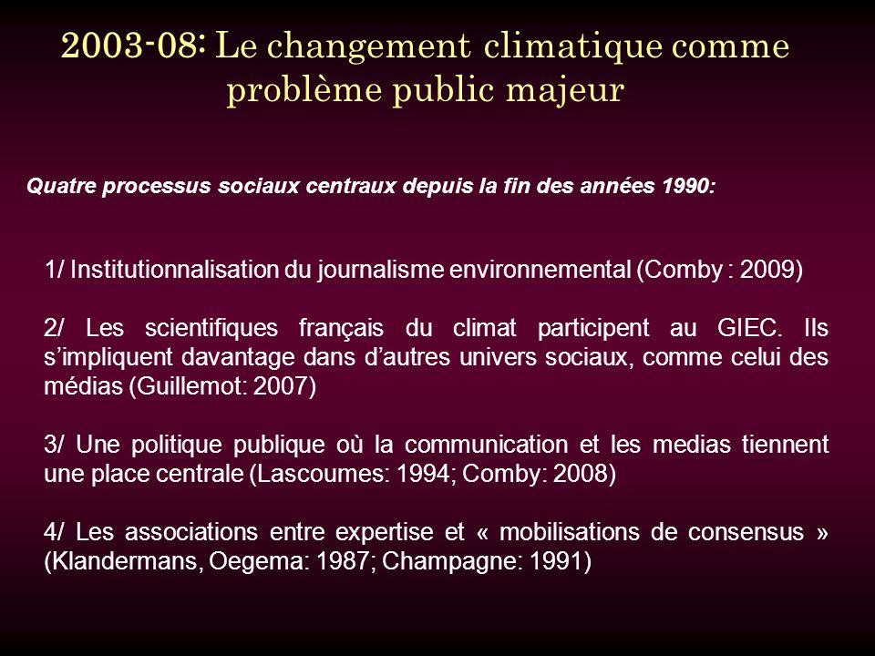 Quatre processus sociaux centraux depuis la fin des années 1990: 1/ Institutionnalisation du journalisme environnemental (Comby : 2009) 2/ Les scientifiques français du climat participent au GIEC.