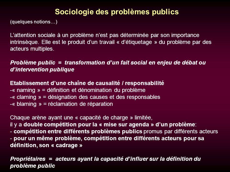Sociologie des problèmes publics (quelques notions…) Lattention sociale à un problème nest pas déterminée par son importance intrinsèque.