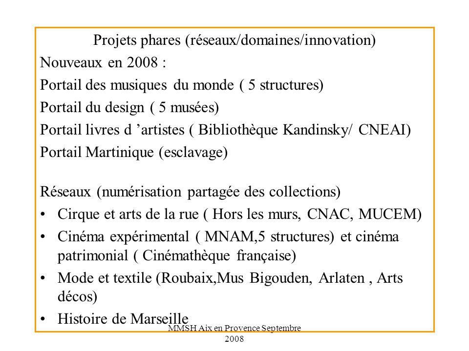 MMSH Aix en Provence Septembre 2008 Projets phares (réseaux/domaines/innovation) Nouveaux en 2008 : Portail des musiques du monde ( 5 structures) Portail du design ( 5 musées) Portail livres d artistes ( Bibliothèque Kandinsky/ CNEAI) Portail Martinique (esclavage) Réseaux (numérisation partagée des collections) Cirque et arts de la rue ( Hors les murs, CNAC, MUCEM) Cinéma expérimental ( MNAM,5 structures) et cinéma patrimonial ( Cinémathèque française) Mode et textile (Roubaix,Mus Bigouden, Arlaten, Arts décos) Histoire de Marseille