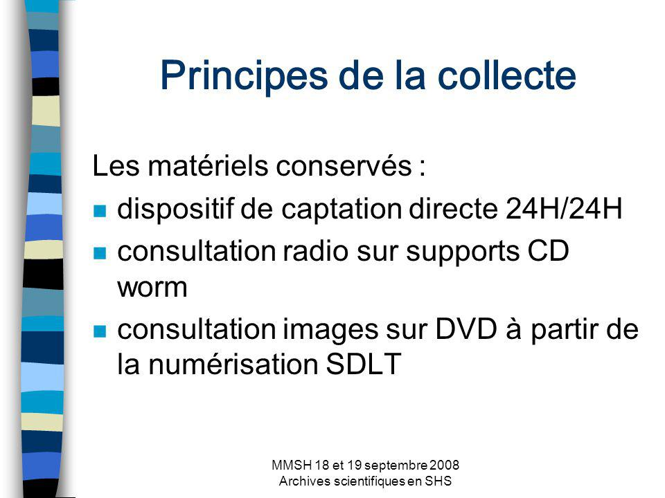 MMSH 18 et 19 septembre 2008 Archives scientifiques en SHS Principes de la collecte Les matériels conservés : n dispositif de captation directe 24H/24