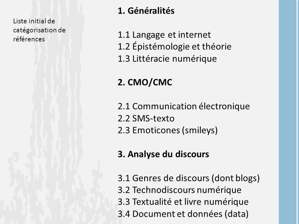 1. Généralités 1.1 Langage et internet 1.2 Épistémologie et théorie 1.3 Littéracie numérique 2. CMO/CMC 2.1 Communication électronique 2.2 SMS-texto 2