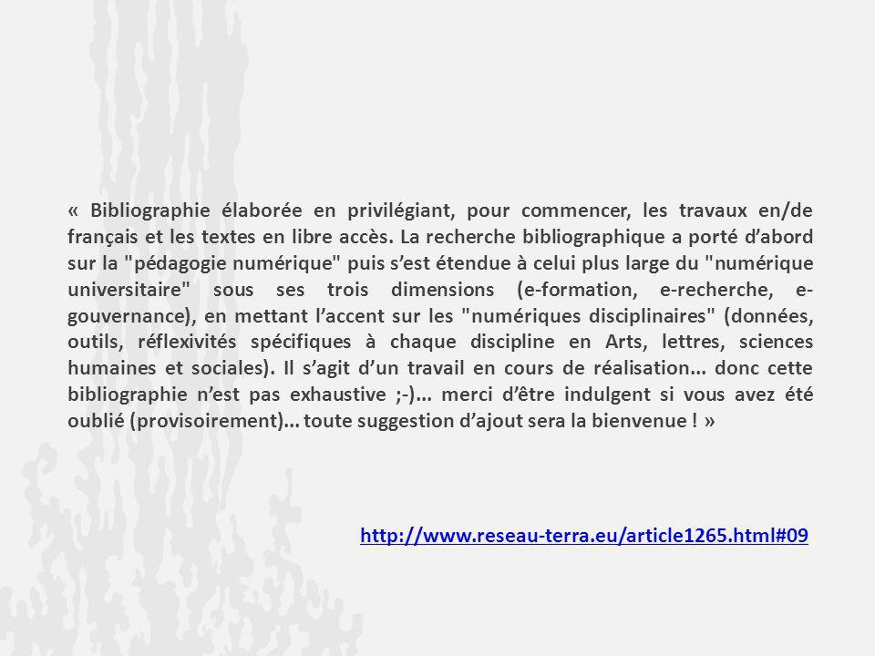 « Bibliographie élaborée en privilégiant, pour commencer, les travaux en/de français et les textes en libre accès. La recherche bibliographique a port