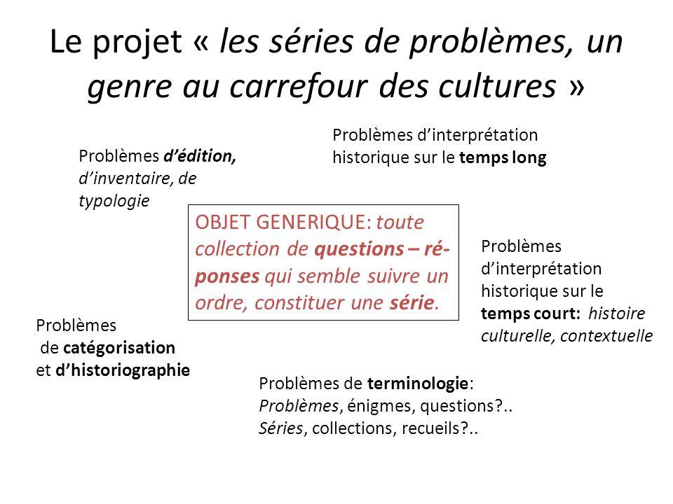 Le projet « les séries de problèmes, un genre au carrefour des cultures » OBJET GENERIQUE: toute collection de questions – ré- ponses qui semble suivr