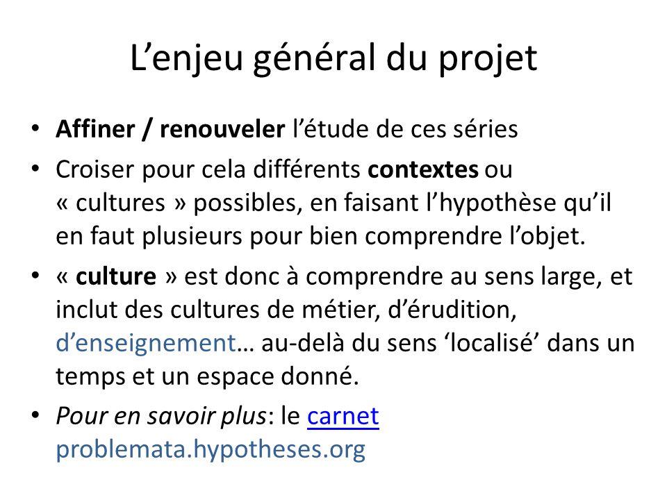 Lenjeu général du projet Affiner / renouveler létude de ces séries Croiser pour cela différents contextes ou « cultures » possibles, en faisant lhypot