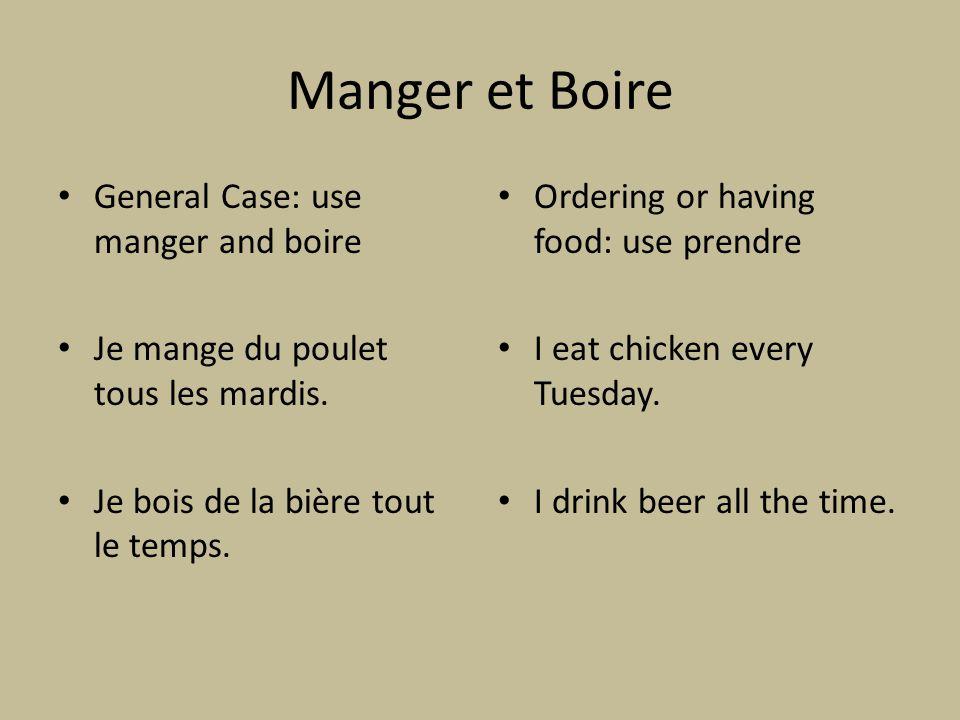 Manger et Boire General Case: use manger and boire Je mange du poulet tous les mardis.