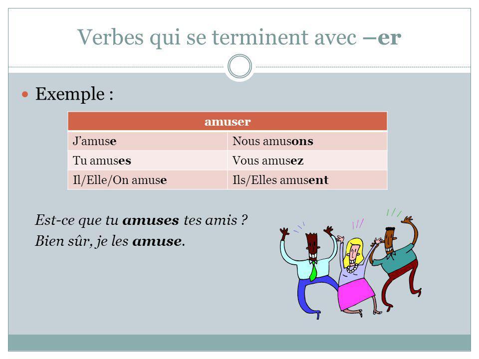 Verbes qui terminent avec –er Exemple: Jouez-vous les charades .