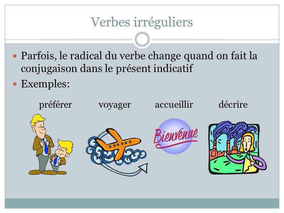 Verbes irréguliers Parfois, le radical du verbe change quand on fait la conjugaison dans le présent indicatif Exemples: préférervoyageraccueillirdécri