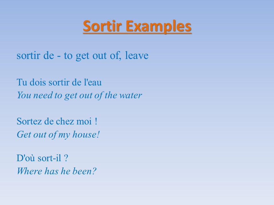 Verbes en -re There are many popular verb endings in French.