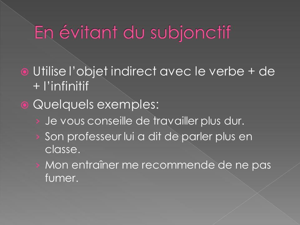 Utilise lobjet indirect avec le verbe + de + linfinitif Quelquels exemples: Je vous conseille de travailler plus dur. Son professeur lui a dit de parl