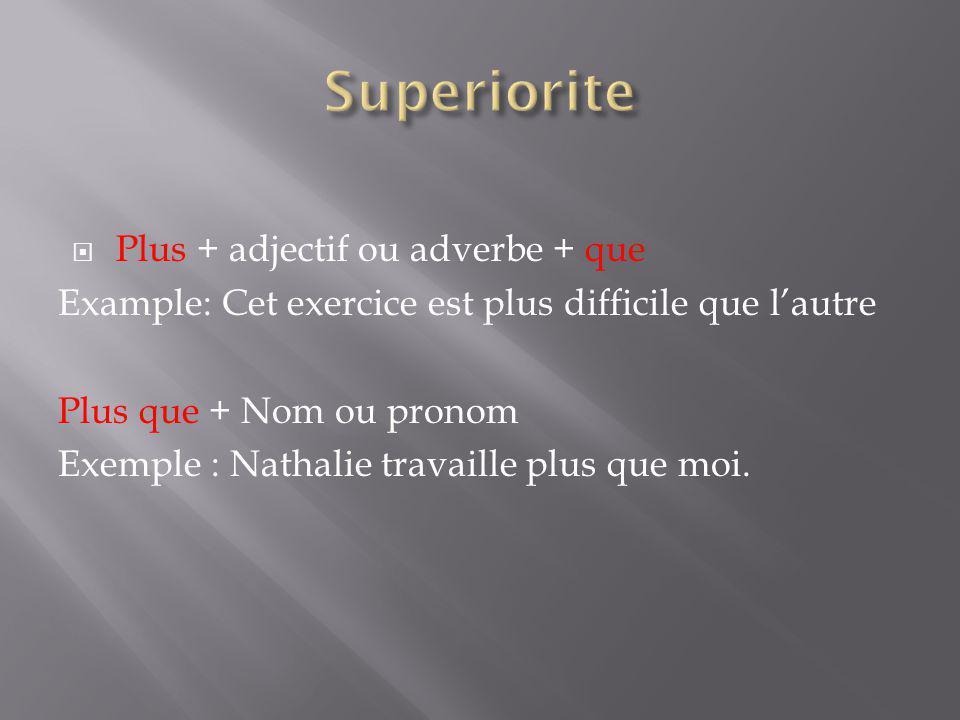 Plus + adjectif ou adverbe + que Example: Cet exercice est plus difficile que lautre Plus que + Nom ou pronom Exemple : Nathalie travaille plus que mo