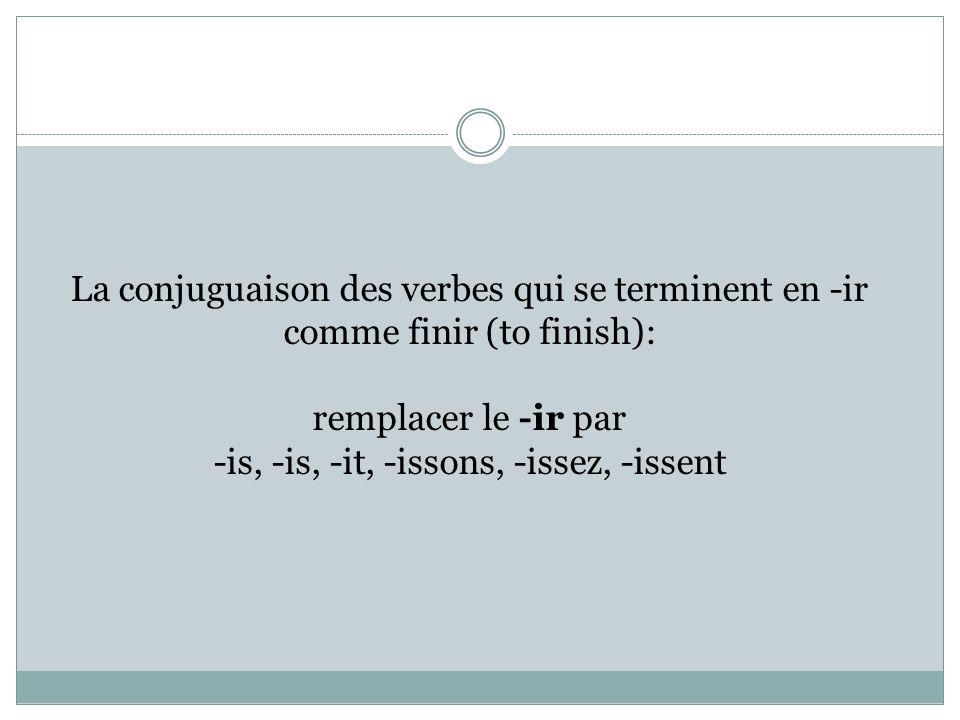 La conjuguaison des verbes qui se terminent en -ir comme finir (to finish): remplacer le -ir par -is, -is, -it, -issons, -issez, -issent