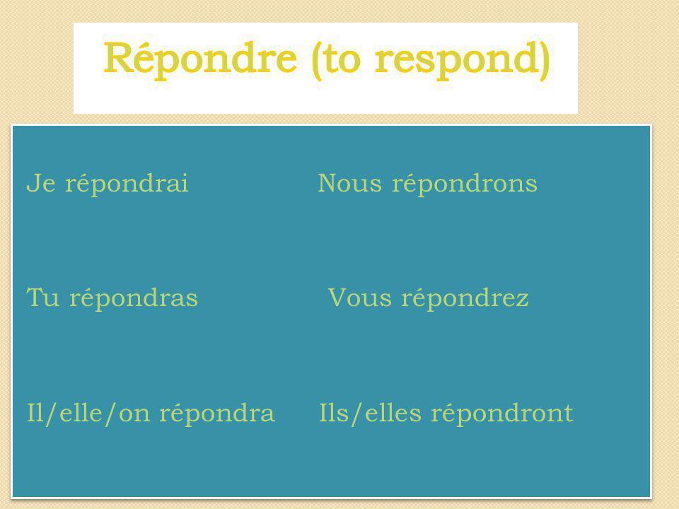 Mettre au futur simple les verbes entre parenthèses 1) Vous (suivre) _____________ un cours de français.