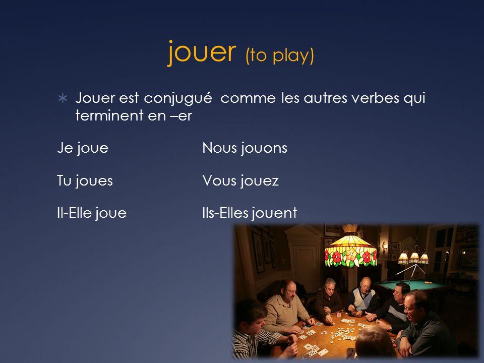 jouer (to play) Jouer est conjugué comme les autres verbes qui terminent en –er Je joueNous jouons Tu jouesVous jouez Il-Elle joueIls-Elles jouent