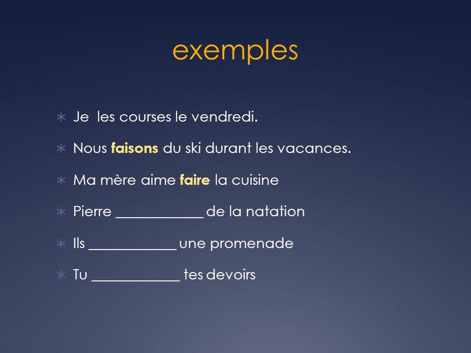 exercise 1.Je _____________ de la gymnastique. 2.