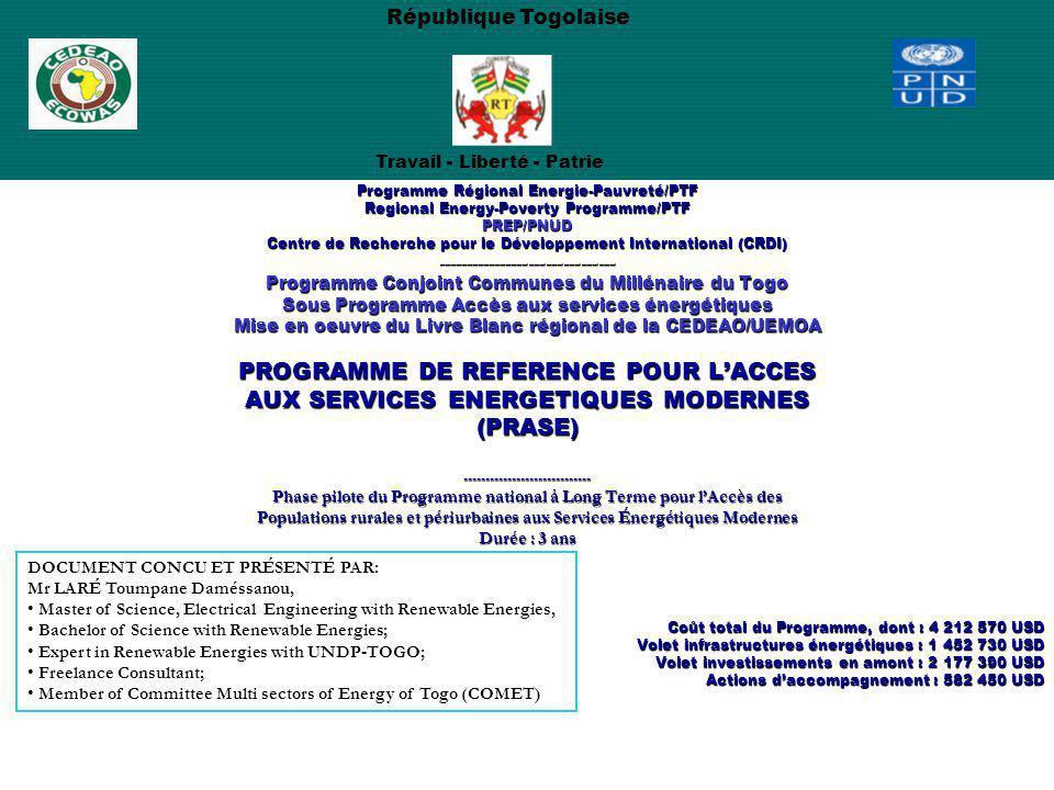 Programme Régional Energie-Pauvreté/PTF Regional Energy-Poverty Programme/PTF PREP/PNUD Centre de Recherche pour le Développement International (CRDI)