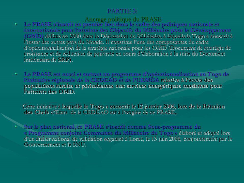 PARTIE 3: Ancrage politique du PRASE Le PRASE sinscrit en premier lieu dans le cadre des politiques nationale et internationale pour latteinte des Obj