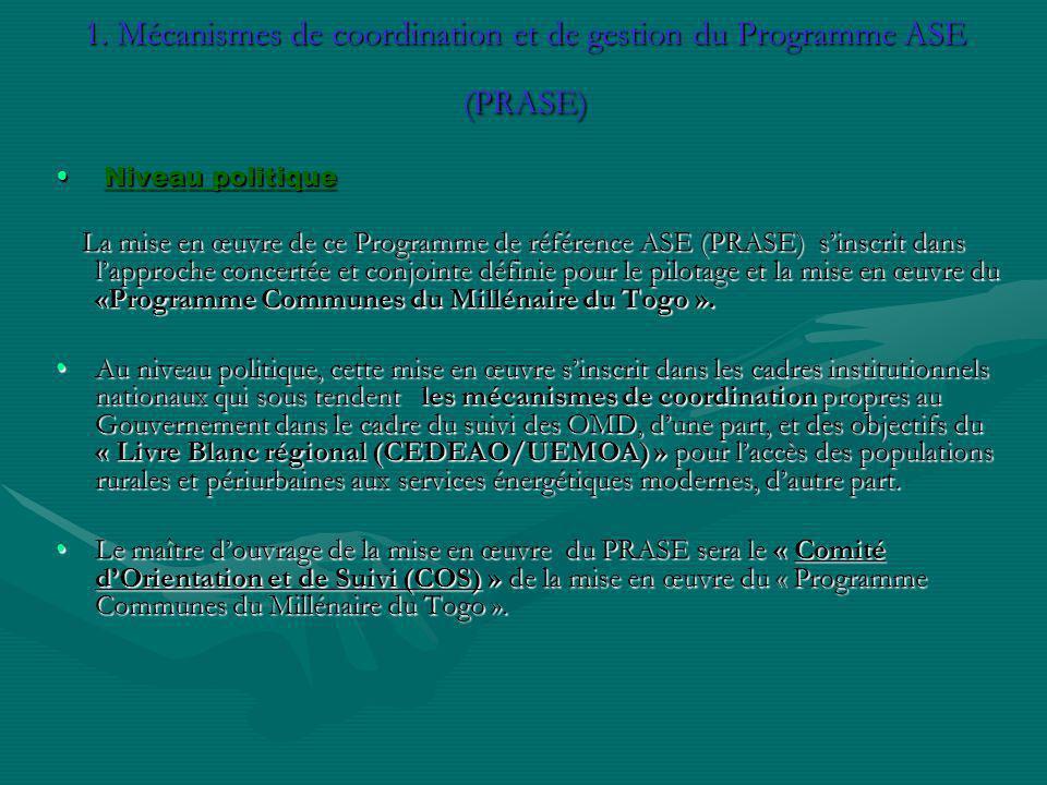 1. Mécanismes de coordination et de gestion du Programme ASE (PRASE) Niveau politique Niveau politique La mise en œuvre de ce Programme de référence A