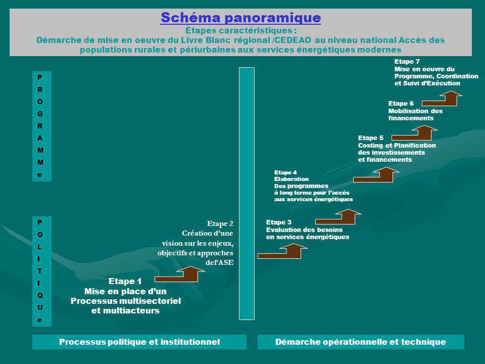 Schéma panoramique Étapes caractéristiques : Démarche de mise en oeuvre du Livre Blanc régional /CEDEAO au niveau national Accès des populations rural
