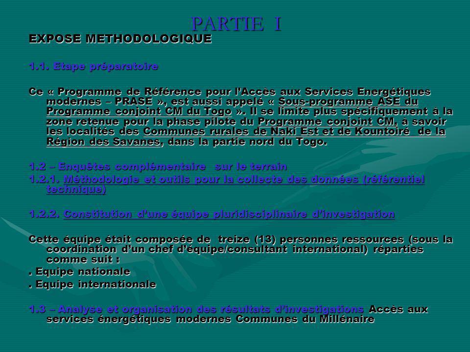 PARTIE I EXPOSE METHODOLOGIQUE EXPOSE METHODOLOGIQUE 1.1. Etape préparatoire 1.1. Etape préparatoire Ce « Programme de Référence pour lAccès aux Servi
