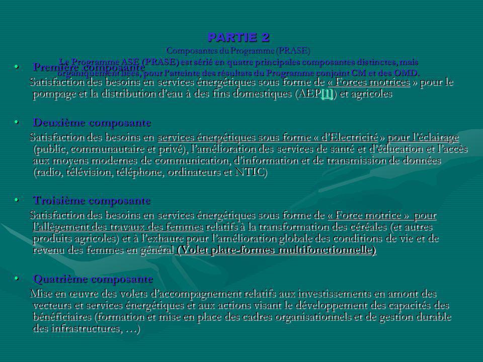 PARTIE 2 Composantes du Programme (PRASE) Le Programme ASE (PRASE) est sérié en quatre principales composantes distinctes, mais organiquement liées, p