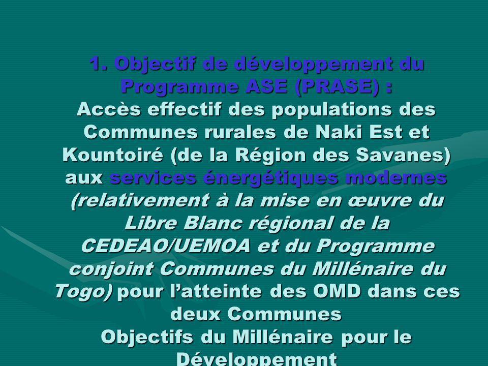 1. Objectif de développement du Programme ASE (PRASE) : Accès effectif des populations des Communes rurales de Naki Est et Kountoiré (de la Région des