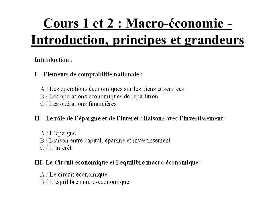 Cours 1 et 2 : Macro-économie - Introduction, principes et grandeurs