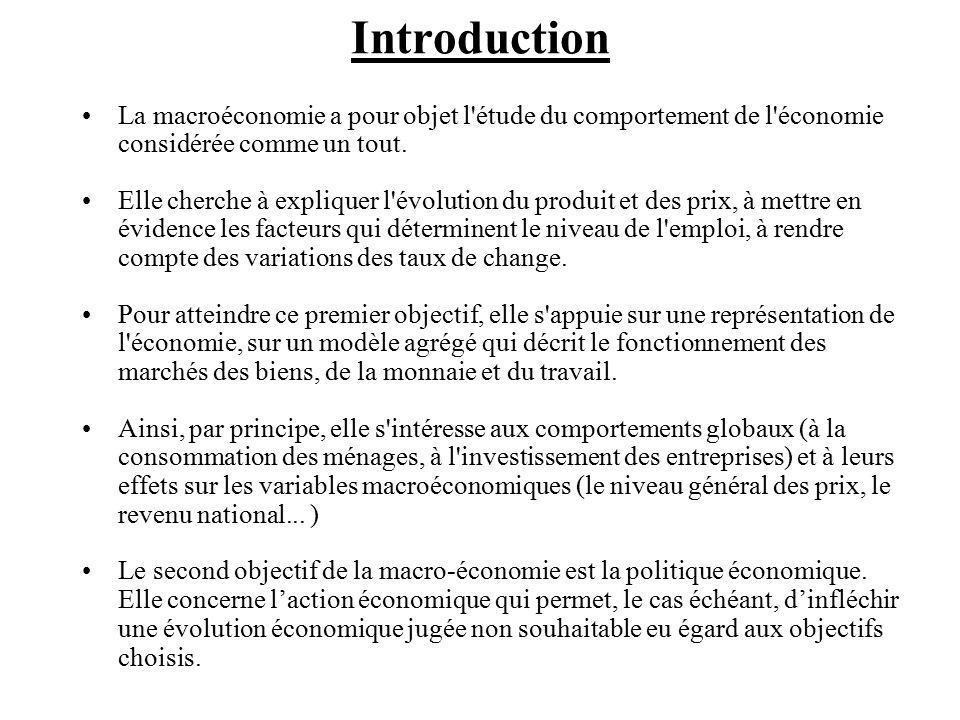 La macroéconomie a pour objet l étude du comportement de l économie considérée comme un tout.