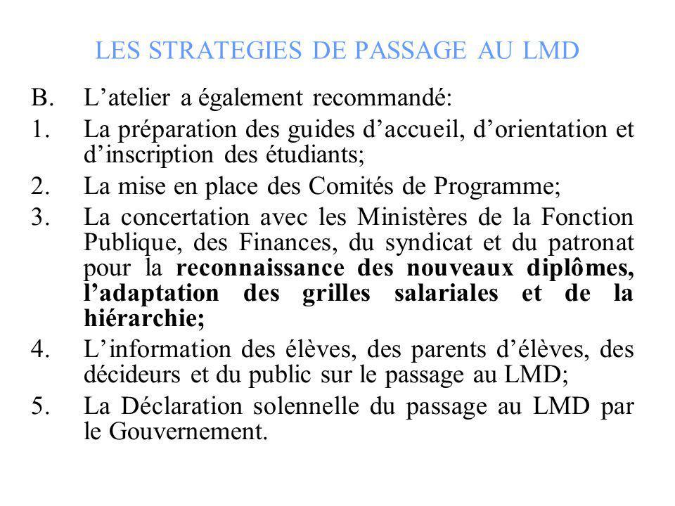 LES STRATEGIES DE PASSAGE AU LMD B.Latelier a également recommandé: 1.La préparation des guides daccueil, dorientation et dinscription des étudiants;