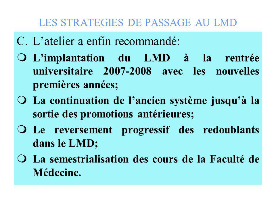 LES STRATEGIES DE PASSAGE AU LMD C.Latelier a enfin recommandé: Limplantation du LMD à la rentrée universitaire 2007-2008 avec les nouvelles premières