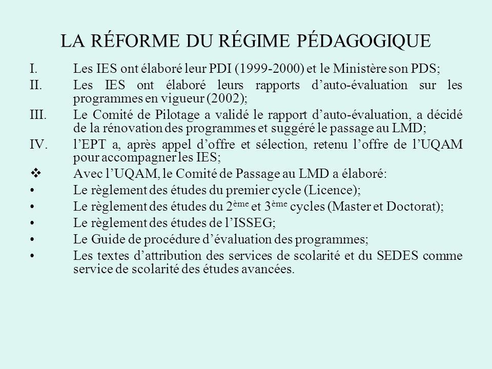 LA RÉFORME DU RÉGIME PÉDAGOGIQUE I.Les IES ont élaboré leur PDI (1999-2000) et le Ministère son PDS; II.Les IES ont élaboré leurs rapports dauto-évalu