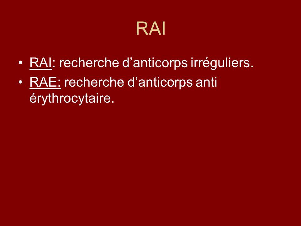 RAI RAI: recherche danticorps irréguliers. RAE: recherche danticorps anti érythrocytaire.