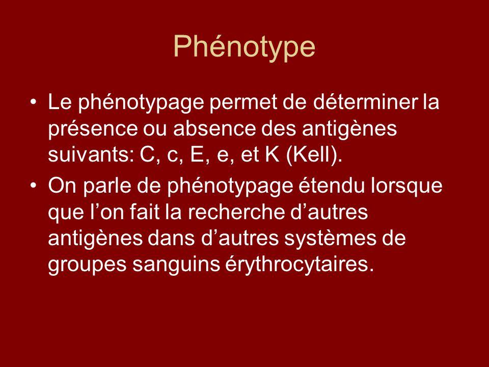 Phénotype Le phénotypage permet de déterminer la présence ou absence des antigènes suivants: C, c, E, e, et K (Kell). On parle de phénotypage étendu l