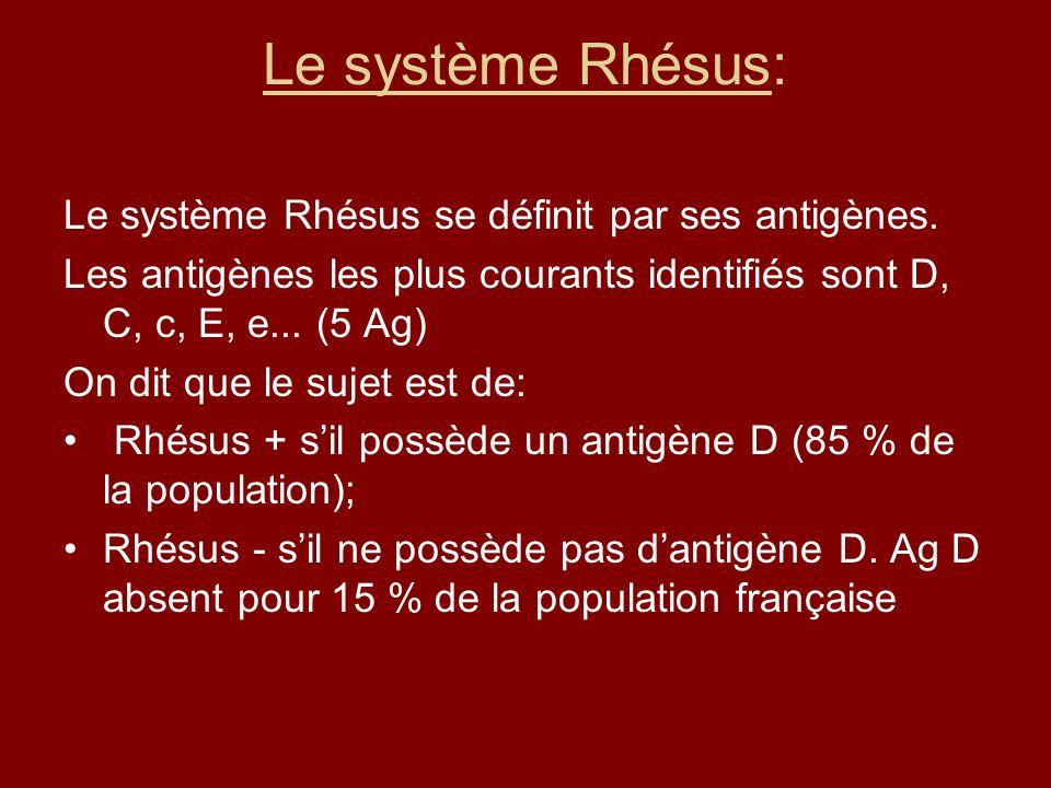 Le système Rhésus: Le système Rhésus se définit par ses antigènes. Les antigènes les plus courants identifiés sont D, C, c, E, e... (5 Ag) On dit que