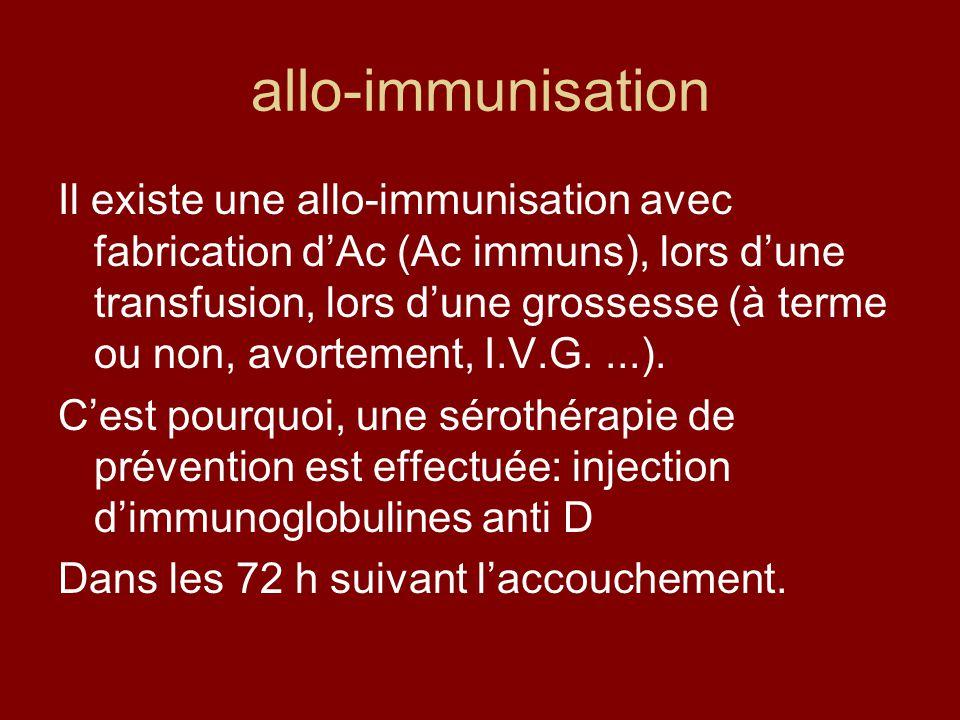 allo-immunisation Il existe une allo-immunisation avec fabrication dAc (Ac immuns), lors dune transfusion, lors dune grossesse (à terme ou non, avorte
