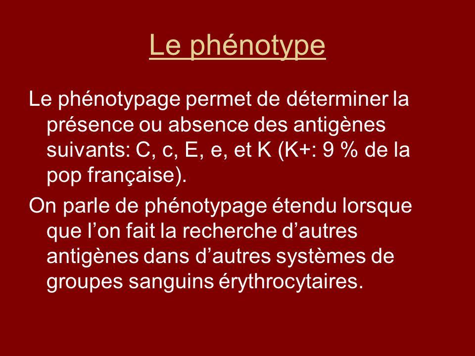Le phénotype Le phénotypage permet de déterminer la présence ou absence des antigènes suivants: C, c, E, e, et K (K+: 9 % de la pop française). On par