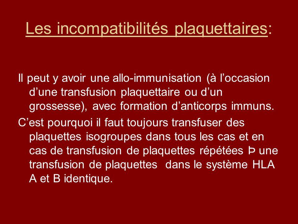 Les incompatibilités plaquettaires: Il peut y avoir une allo-immunisation (à loccasion dune transfusion plaquettaire ou dun grossesse), avec formation