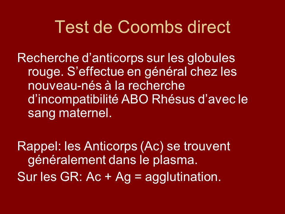 Test de Coombs direct Recherche danticorps sur les globules rouge. Seffectue en général chez les nouveau-nés à la recherche dincompatibilité ABO Rhésu