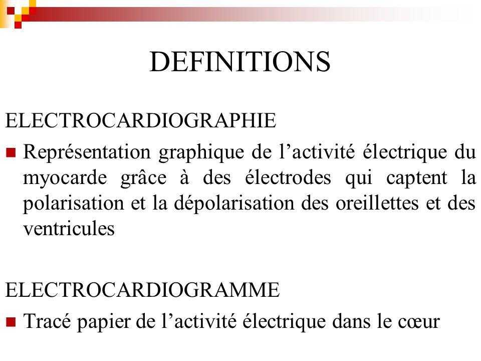 DEFINITIONS ELECTROCARDIOGRAPHIE Représentation graphique de lactivité électrique du myocarde grâce à des électrodes qui captent la polarisation et la