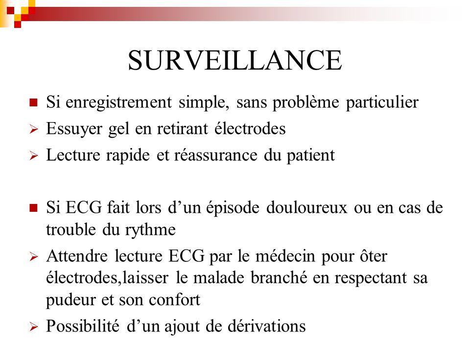 SURVEILLANCE Si enregistrement simple, sans problème particulier Essuyer gel en retirant électrodes Lecture rapide et réassurance du patient Si ECG fa