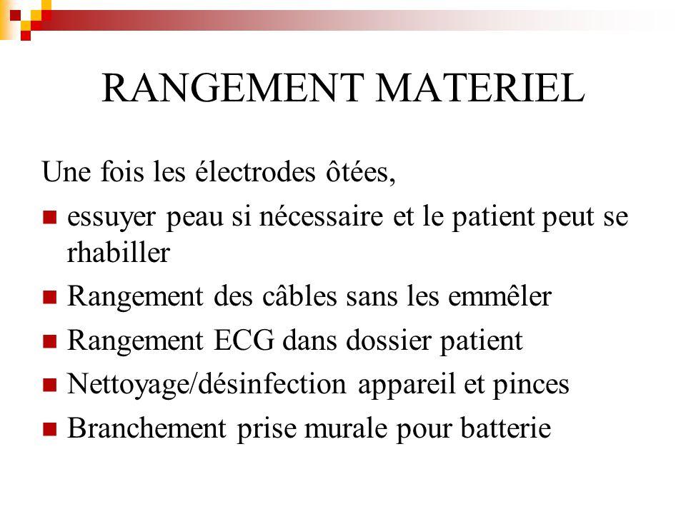 RANGEMENT MATERIEL Une fois les électrodes ôtées, essuyer peau si nécessaire et le patient peut se rhabiller Rangement des câbles sans les emmêler Ran