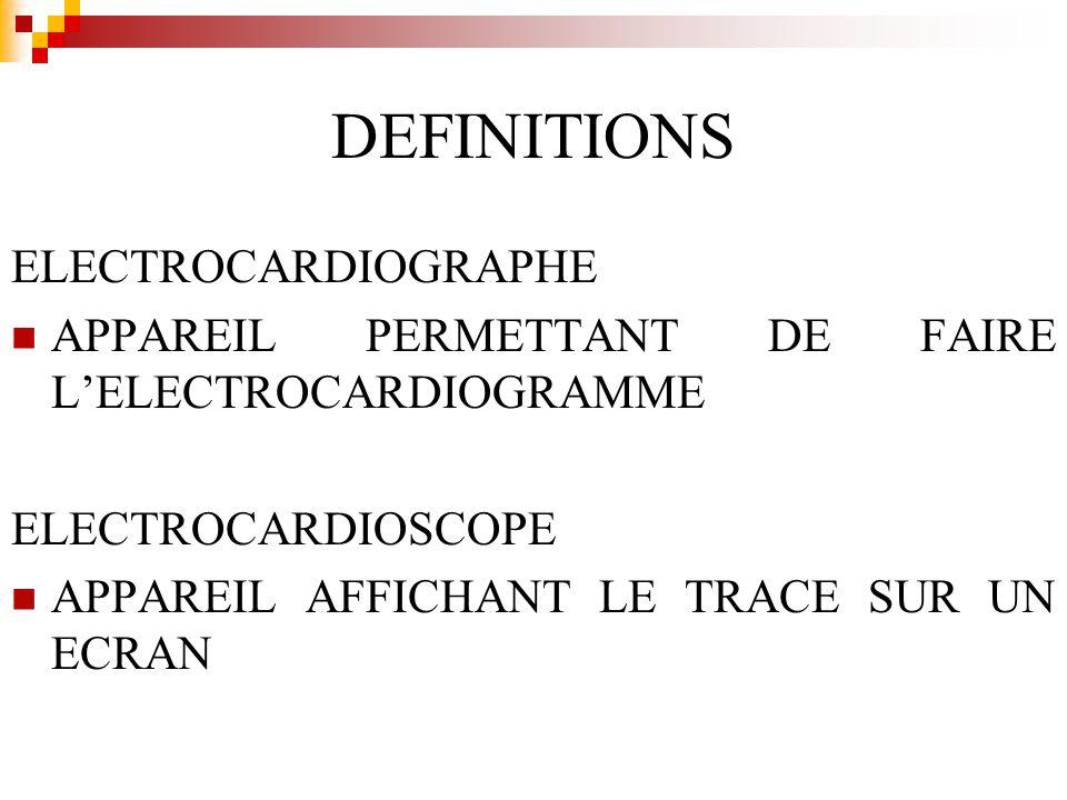 DEFINITIONS ELECTROCARDIOGRAPHE APPAREIL PERMETTANT DE FAIRE LELECTROCARDIOGRAMME ELECTROCARDIOSCOPE APPAREIL AFFICHANT LE TRACE SUR UN ECRAN