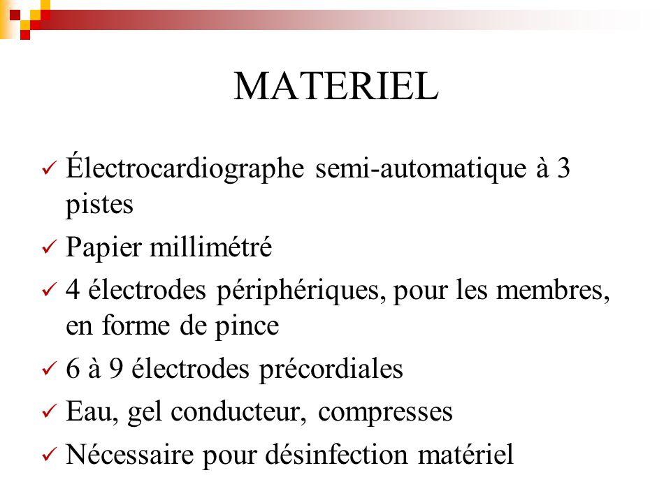 MATERIEL Électrocardiographe semi-automatique à 3 pistes Papier millimétré 4 électrodes périphériques, pour les membres, en forme de pince 6 à 9 élect